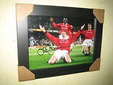 Ole Gunnar Solskjaer {Man Utd} Hand Signed Photo (8x12) Framed European Final