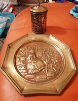 VINTAGE BRASS WELSH LADY DECORATIVE PLATE AND CONTAINER POT CADDY UNUSUAL