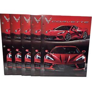 School Portfolio Pocket Folders Red Corvette Muscle Sports Car GM Lot Of 2