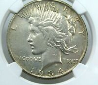 1934-S $1 US SILVER PEACE DOLLAR AU DETAILS NGC CLEANED COIN GOOD EYE APPEAL z2