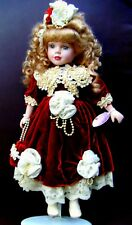 Victorian Brass Key Doll With Blonde Hair In Red Velvet Dress Trimmed With White