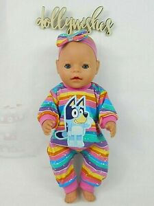 """Dolls clothes for 17"""" BABY BORN DOLL~BLUEY DOG COLOURFUL STRIPE JUMPSUIT~H'BOW"""