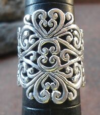 925 Sterling Silver-LL110-Balinese HandMade Ring Filigree Full Carved Size 8