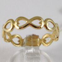 Gelbgold Ring 750 18K, Reihe Von Symbole Infinito, Made IN Italien