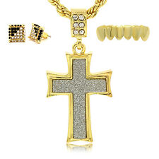 """Gold Plated Stardust Curved Cross Pendant Hip-Hop w/ 24"""" Chain, Earring & Grillz"""