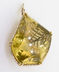 .A 150ct Lemon Quartz & .95ct G Si Diamond 18K Yellow Gold Pendant Val $19200