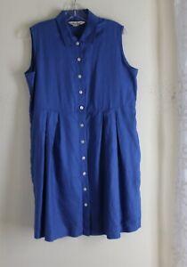 Eddie Bauer -Sz M Vtg 1990s French Blue Elegant Linen Shorter Shirt Dress Artsy