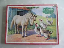 VINTAGE VICTORY WOODEN JIGSAW PUZZLE - ANIMAL SERIES 56 - PONY AND GEESE