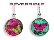 Zarah Butterfly Effect Dangle EARRINGS Rhodium-Plated Reversible Art Glass