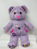 "Doodle Pets Bear Vintage 1995 Tyco Stuffed Plush Pink Jeans 11"" 90s Toy Purple"
