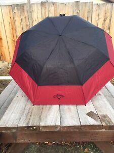 "Callaway Golf 36"" Double Canopy Umbrella - Black/Red"