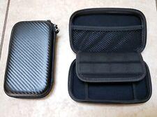"Black Hard Drive Protective Travel Case 7""x4"" Memory Card Slots Carbon Fiber Loo"