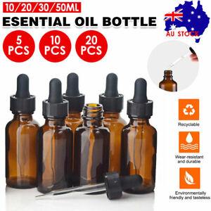 10-100ML Amber Glass Liquid Dropper Reagent Eye Pipette Essential Oils Bottle AU