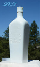 Beautiful WHITE MILK GLASS Berliner Magen BITTERS bottle CASE GIN shaped