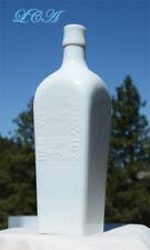 Beautiful WHITE MILK GLASS Berliner Magen BITTERS bottle CASE GIN shaped