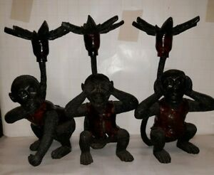 "Three monkey candle holders/ see no evil speak on/ evil hear no evil 11.5"" tall"