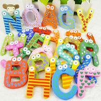 26 Magnetisch Buchstaben A-Z Holz Kühlschrank Magnete Baby Kind Bildung