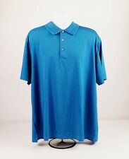 Pga Tour Xxl Blue Pin Stripe Diamond Pattern Short Sleeve Golf Polo Shirt
