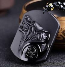 Jade statue Black Obsidian Carving Wolf Head Amulet Necklace Blessing Pendant