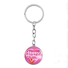 Vintage Glass photo Cabochon Tibetan silver Metal Key Ring (Happy Mothers' Day)