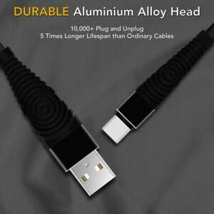 Type C Braided Cable Heavy Duty 2.4A Fast Charge Data Cable 1M Bendable CE Black