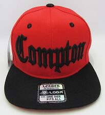 COMPTON Snapback Hat South Central Los Angeles City Cap Red Black LA RAIDERS NWT