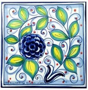 Italian Ceramic Tile - Tuscan Fruit - Blue Raspberry - 4 x 4 inch