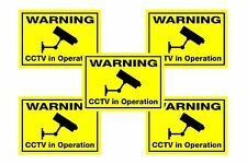 Security Camera CCTV Warning Stickers - 5 x Flourescent Window CCTV Stickers