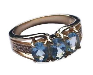 R245 Genuine 9K, 10K, 18K Solid Gold Natural Aquamarine & Diamond Trilogy Ring
