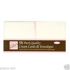 "Anita's pack of 50 blank 240gsm cards 5.3""x5.3"" (135mm) square + envelopes cream"