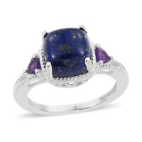 925 Sterling Silver Lapis Lazuli Amethyst Ring Jewelry for Women