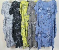 New Summer Ladies Lagenlook Lightweight Short Sleeve Floral Print Cotton Dress
