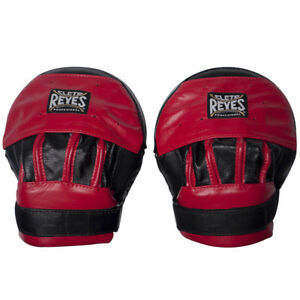 Cleto Reyes Leather Curved Punch Mitts - Black/Red