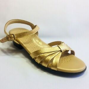 SAS Tripad Comfort Gold Leather Strappy Ankle Strap Sandals Womens Size 7 S USA