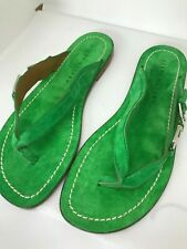 Ralph Lauren Purple Label Suede Gladiator Slide Sandals 10 Green Made in Italy