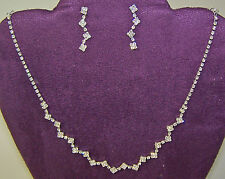 CLEAR CRYSTAL NECKLACE & EARRINGS GREAT FOR RED HAT LADIES OF SOCIETY