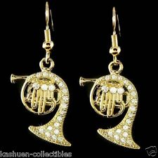 w Swarovski Crystal Brass Band ~FRENCH HORN~ music Musical Gold Plated Earrings