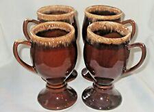 Set of 4 Vintage Hull Pottery Brown Drip Pedestal Coffee Mug Cup USA