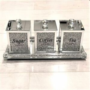 SILVER CRUSHED DIAMOND JARS WITH TRAY CRYSTAL FILLED TEA COFFEE SUGAR CANISTERS