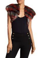 Ramy Brook BRICK RED COMBO Kaylee Camo Faux Fur Shrug Vest, US Small