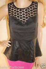 NWT bebe black sequin cutout v neck bustier peplum hi low dress top M medium 6 8