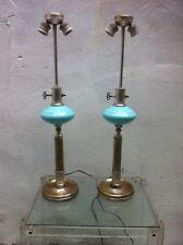Vintage 1930s Antiques METALARTE Art Deco table opaline glass lamps Spain
