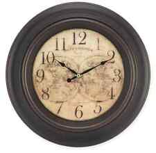 Brown World Map Wall Clock, Vintage Antique Overlay Style, Home Art Rustic Decor