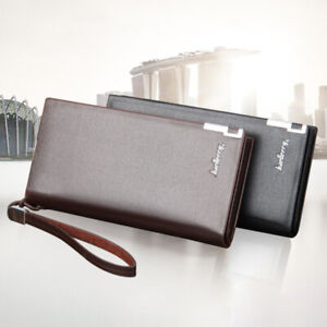 Mens PU Leather Wallets Long Card Holder Bag Zipper Pouch Large Capacity Wallet