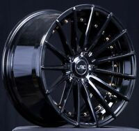 SET(4) JNC WHEELS STAGGERED JNC042 19x8.5/9.5 5x114.3 35 GLOSS BLACK/GOLD RIVETS