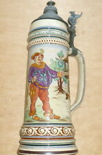 More details for antique german beer stein 2 litre 15 inch decorated with soldier & lord at pub
