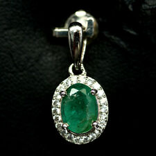 NATURAL 6 X 7mm. GREEN EMERALD & WHITE CZ PENDANT 925 SILVER STERLING