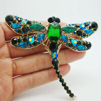 Vintage Style Green Crystal Rhinestone Waving wings Dragonfly Bird Brooch Pin