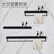 Bathroom Shower Shelf Glass Basket Folding Towel Rack Space aluminum Black&White