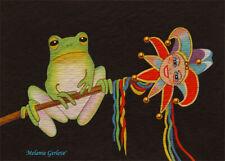 Aceo by Melanie Gerleve Court Jester Frog Mardi Gras Artist Trading Card